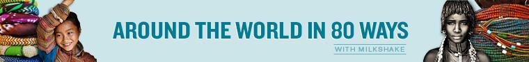 Around the world blue banner
